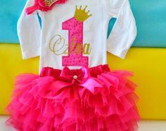 First Princess Birthday outfitPink princess por KidsFunLand en Etsy