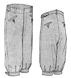 Men's Knickerbockers: a sports garment that were cut with loose les and belted into a band just below the knee.