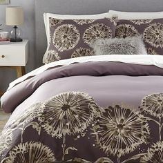 Dandelion Field Duvet Cover + Shams - Dark Iris #westelm  My new duvet...so beautiful!