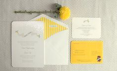 Love this one too...cute design and yay for bright yellow! Wedding invites by Mr & Mrs