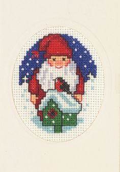 Julekort - Permin DK Cross Stitch Christmas Cards, Christmas Journal, Xmas Cross Stitch, Christmas Cross, Cross Stitching, Cross Stitch Embroidery, Cross Stitch Patterns, Embroidered Christmas Ornaments, Christmas Embroidery
