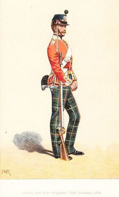 Foot (Highland) Light Infantry, Private, From The Records and Badges of Every Regiment and Corps in the British Army by Henry Manners Chichester and George Burges-Short, 1900 Military Uniforms, Military Art, Highlands Warrior, British Army Uniform, Uniform Dress, American War, British History, Napoleon, Victorian Era