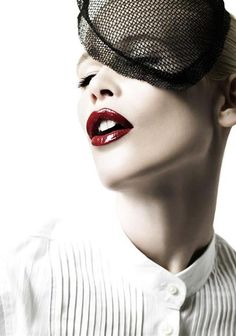 red glossy #lips on Claudia Schiffer