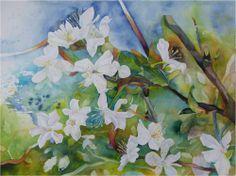 Osterspaziergang | Wildwuchs in der Obstblüte (c) Aquarell von FRank Koebsch
