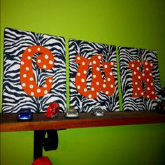 My fun craftiness for little brothers' room. .99 zebra print bandanas, canvas, and letters I painted. So stinking easy.