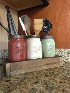 Mason jar utensil holder, kitchen utensil storage, utensil h Kitchen Utensil Storage, Kitchen Countertop Organization, Mason Jar Storage, Kitchen Jars, Mason Jar Diy, Mason Jar Crafts, Diy Storage, Kitchen Utensils, Storage Ideas