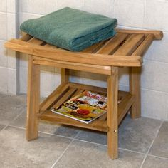 Teak Curved Shower Seat with Shelf - Height from Ground to Seat: 476mm.  Width: 610mm.  Depth: 422mm - $149.95 (£95.70 + International Shipping)