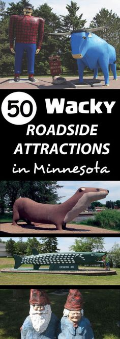50 Wacky Roadside Attractions in Minnesota. Learn about Minnesota's giant roadside sculptures and the family friendly amenities that can be found in the towns they call home. Visit Minnesota Wonders to find more unique travel destinations and family fun! minnesotawonders.com