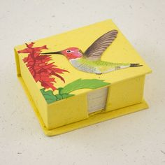 Hummingbird Note Box made out of Elephant Poop. Mr. Ellie Pooh