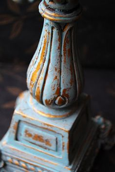 Old, gold candle holder painted with Annie Sloan Chalk Paint™ Provence, wiped with wet rag...no wax.
