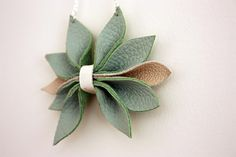 Leather Necklace. Recycled Leather Necklace. Leaves Leather Necklace. Eco Leather Jewellery