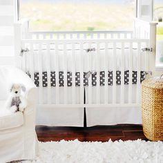 White Pique with Gray Trim Crib 2 Piece