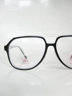 Black Aviator Eyeglasses Mens Clear Transparent Midnight Obsidian Optical Frames 1970s Deadstock NOS New Old Stock Guy Homme  Hip Hop Chic
