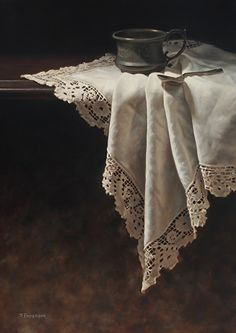 Susan Paterson - Cup and Spoon- Oil - Painting entry - May 2015 Still Life 2, Still Life Photos, Art Watercolor, Painting Competition, Realistic Paintings, Painting Still Life, Linens And Lace, Online Painting, Still Life Photography