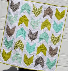 Pow Wow Throw Quilt Kit In Gray, Teal, And Chartreuse Green
