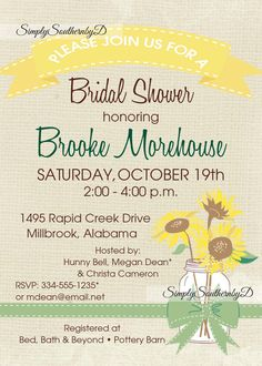 Sunflower & Burlap Bridal Shower Invitation by SimplySouthernbyD, $10.90