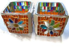 Colorful Candle holders Glass Mosaic Pair FREE SHIPMENT Orange Blue white Yellow Green Red  by Margalita. $33.00, via Etsy.