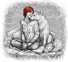 Shani  and the white wolf by NastyaKulakovskaya.deviantart.com on @DeviantArt
