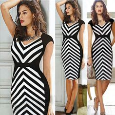 Cheap Dresses, Buy Directly from China Suppliers: Womens new Summer Vestidos de Festa Black White Striped Patchwork V Neck Knee Length Business Casual Work Party Bodycon Trendy Dresses, Club Dresses, Cheap Dresses, Short Sleeve Dresses, Dresses For Work, Party Dresses, Trendy Outfits, Summer Dresses, Long Sleeve