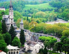 lourdes, france. a bustling pyrenees village, vest known for famous virgin mary sightings.