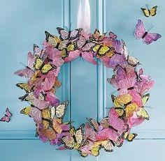 wreaths easter spring butterflies. Love this I know where I can find some of the butterflies but ideas for other places?