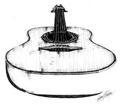 Guitar - by Kathy Morton Stanion from One-Word Concept: Music art exhibit Guitar Drawing, Guitar Painting, Guitar Art, Guitar Sketch, Music Drawings, Ink Pen Drawings, Tattoo Musica, Perspective Art, Guitar Tattoo