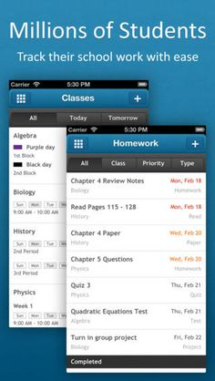myHomework Student Planner ($0.00 with 1.99 iAP option) - Track your classes, homework, tests and assignments - Beautiful calendar display - Supports time, block and period-based schedules - Universal (both iPhone, iPad and iPod touch)  - iPhone 5 support