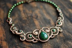 Soutache handmade statement embroidered necklace in beige and green colors with verdite cabochone and aventurine beads. This exquisite necklace will look great on your neck. You can wear it like to strict costume to liven up your look and to cocktail dresses. In any case, this necklace, youre in the spotlight  FREE SHIPPING  Necklace made in technology soutache with crystal stone ,aventurine beads, seed beads, glass beads. The back side is sewn suede.  Lenght - 19 cm (7,48 inch) Width - 17…