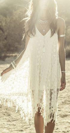 Crochet lace Boho chic bohemian boho style hippy hippie chic bohème vibe gypsy fashion indie folk dress
