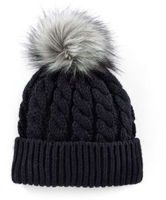 7de6b9c19c0 Madden-Girl Faux-Fur Pom-Pom Cable-Knit Beanie Hat - ShopStyle. Stay cute and  warm ...