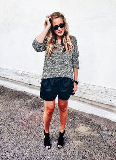 We love how blogger Swear On Chanel styled our BB Dakota Sheldon sweater with leather shorts! #bloggerstyle #sweaters #leathershorts  http://handinpocket.com/jack-sheldon-sweater.html