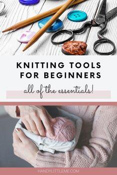 Knitting Kits For Beginners, Beginner Knitting Projects, Knitting Basics, Wooden Knitting Needles, Knitting Yarn, Thick Yarn, Chunky Yarn, Little Stitch, Embroidery Scissors