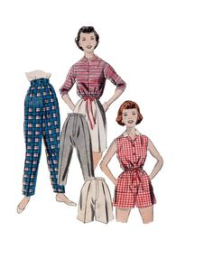 Butterick Retro Rockabilly Style Pencil Pedal Pusher Pants Shorts Tapered Leg Capri 50s Sewing Pattern Girls Size 8 Playsuit One Piece by AdeleBeeAnnPatterns on Etsy