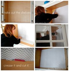 installing the wrapping paper cabinet shelves