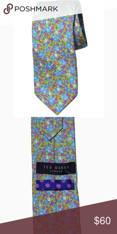 Mens Ted Baker Floral Silk Tie Men's brand new Ted Baker floral cotton tie 61 inches length 3 18 inches width 100% Italian silk Green base with blue, white, purple, orange, yellow, white and magenta floral pattern Made in the USA Ted Baker Accessories Ties