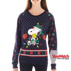 Vtg PEANUTS SNOOPY CHARLIE BROWN UGLY CHRISTMAS SWEATER mens M-L ...