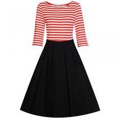 Josefine  Red Black Swing Dress Stylus 5bc644d9b45