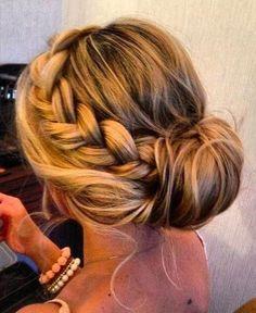 I love this but will probably never make my hair look this good! bun hairstyles, boho braids, bridesmaid hair, summer hair, long hair, prom hair, bridesmaid updo, braid bun, braid hair