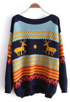 Blue Long Sleeve Deer Print Pullovers Sweater. Now I just need to live somewhere where it ISNT 40 degrees out!