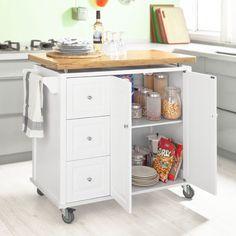 SoBuy FKW30-WN Desserte sur roulettes, Meuble chariot de cuisine de service roulant avec 3 tiroir et 1 grande armoire de rangement, plateau en bambou L102xH96xP50cm: Amazon.fr: Cuisine & Maison