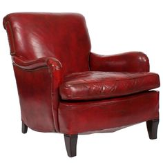Comfy, Vintage Red Leather Club or Armchair | From a unique collection of antique and modern armchairs at http://www.1stdibs.com/furniture/seating/armchairs/