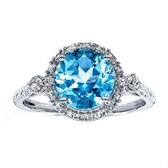Blue Topaz Ring Lab-Created Sapphires 10K White Gold Vintage Halo Style #SolitairewithAccents