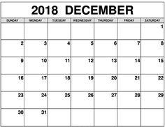 December 2018 Printable Calendar  #DecemberCalendar2018Monthly
