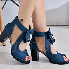 Peep Toe Zipper Plain Chunky Heel Hollow Women's Sandals - m.tbdress.com