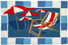 Beach Chair and Umbrellas Jellybean Accent Area Rug - Beachfront Decor
