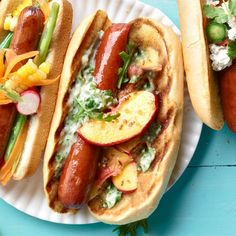 Pickled Peach & Bacon Dogs With Arugula Mayo...
