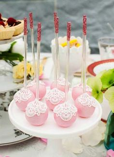 Pretty Pink Lace Covered Cake Pops