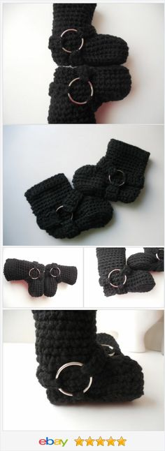 Biker Baby Booties - Handmade Crochet - Made to Order
