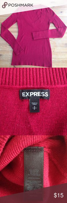 Express V-Neck Sweater Festive red v-neck sweater from Express, size small. Beautiful, great condition, deep v-neck, looks gorgeous with a lace camisole and pencil skirt! Express Sweaters V-Necks
