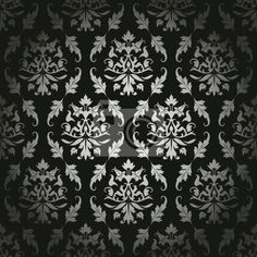 """Stickers """"classic, ozdobny, time-honored - black/silver seamless flowers/leafs pattern"""" ✓ Easy Installation ✓ 365 Day Money Back Guarantee ✓ Browse other patterns from this collection!"""